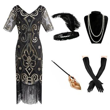 1920s Gatsby Sequin Beaded Fringed Paisley Flapper Dress