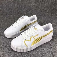 PUMA Basket Women Casual Running Sport Shoes Sneakers White Golden I-CSXY