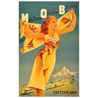 Colourful Original 1950s Travel Advertising Poster for Montreux Oberland Bernois (Mob) Railway, Switzerland