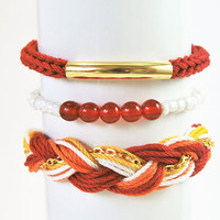 Red stacked bracelets, set of stackable bracelets, arm candy