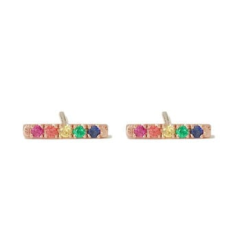 Rainbow Gemstone Pavé Rectangle Bar 14K Solid Gold Stud Earrings, Small Size {Valentine's Day Gift Ideas}(Real Gems, Sold as Single or Pair)