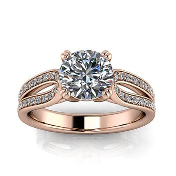 Diamond and Moissanite Engagement Ring - Ada