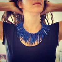 Supermarket: Bohemian fringe statement necklace in royal blue suede from Maslinda