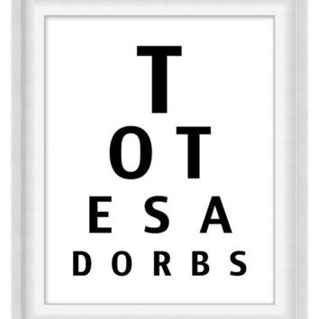 Printable Poster: Eye Chart - Totes Adorbs - Vertical 8x10 - Digital Wall Art - Printable Art