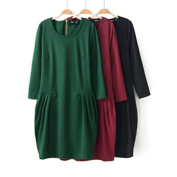 Simple Design Ruffle Slim Three-quarter Sleeve Zippers Dress One Piece Dress [4917844292]