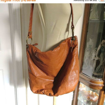 Vintage Brown Leather Slouch Purse or Shoulder Bag Vintage by Letisse