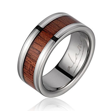GENUINE HAWAIIAN KOA WOOD WEDDING BAND RING TITANIUM STERLING SILVER BORDER 8MM