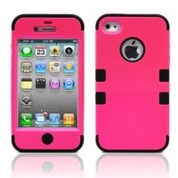 iPhone 4S Case, MagicMobile Hybrid Impact Shockproof Cover Hard Armor Shell and Soft Silicone Skin Layer [ Hot Pink - Black ] with screen protector and stylus