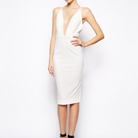 Solace London Curtis Midi Dress with Strappy Back