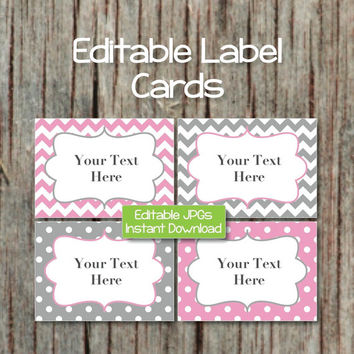 Name Tags Editable Label Cards Digital JPG File Printable Digital Collage Sheet Gum Pink Grey INSTANT DOWNLOAD Baby Shower Party 004