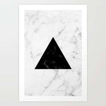 Marble Triangle Collage Art Print by New Wave Studio