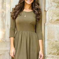 EVERLY:Here's To You Dress-Olive