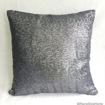 Luxury Glamour. 16inch Gray Sequins Embellished Pillow Cover. Holidays Sparkly Decorative Cushion Cover. Wedding Party Decor. New Home Gift
