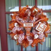 University of Texas Longhorn Orange and White Deco Mesh Door Wreath