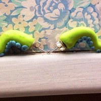 Lime green octopus tentacles polymer clay studs
