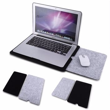 2Colors 11/13/15inch Felt Laptop Sleeve Case Bag Pouch + Mouse Pad For Macbook Air Pro Retina