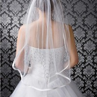 1T White  Bridal Veil Elbow Length With Comb