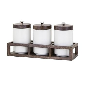 Christine Canisters in Wood Caddy