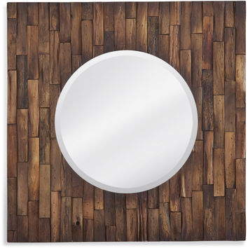 "Bassett Mirror Hudson Wall Mirror Distressed Wood 24"" x 24"" - M3934BEC"