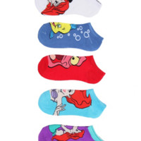 Disney The Little Mermaid Ariel Friends No-Show Socks 5 Pair