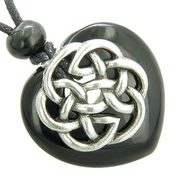 Amulet Celtic Shield Knot Puffy Heart Black Agate Gemstone Pendant Necklace