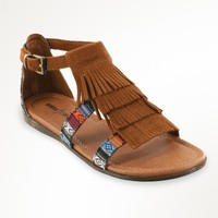 Minnetonka Maui Brown & Arizona Print Fringe Sandals