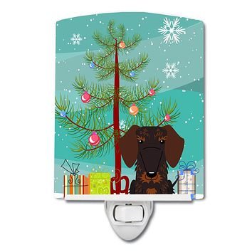 Merry Christmas Tree Wire Haired Dachshund Chocolate Ceramic Night Light BB4254CNL