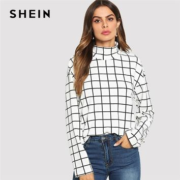 SHEIN Black and White High Neck  Plaid Grid Print Blouse Elegant Long Sleeve Highstreet Blouses Women Autumn Top Blouse