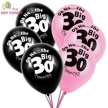 """HEY FUNNY 10 pcs """"Oh No...The Big 30"""" Latx Ballons Wedding Decor Balloons Married Anniversary 30 Years Birthday Party Supplies"""