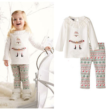 Baby Kids Sleepwear Nightwear Boys Girls Christmas Santa Claus Deer Pajamas Set 0-24M