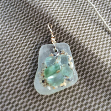 Aqua Puddle of Sea Glass gold filled  on White Texas Sea Glass, beach pendant , original art, sea glass jewelry, beach glass, mermaid tears