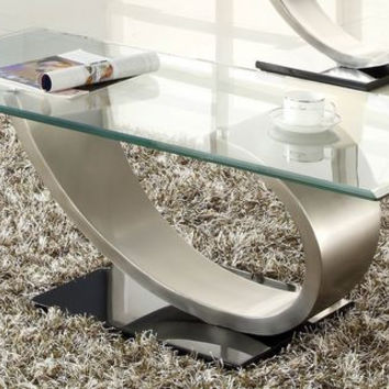 He-3449-30 Silvera Collection Cocktail Table, Metal Base