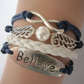 Combined Bracelet, Antiqued Silver Infinity Bracelet, Snitch Bracelet , Believe Wings Bracelet, White Braid, Wax Cords, Friendship Gifts