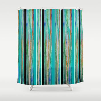 Energy in Green, Blue, Black and Gold Shower Curtain by Jenartanddesign