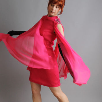Storewide Sale - 1960s Deep Bright Raspberry Pink Chiffon Party Dress. Cocktail. Wedding. Mad Men Fashion. Glamour. Fall Fashion