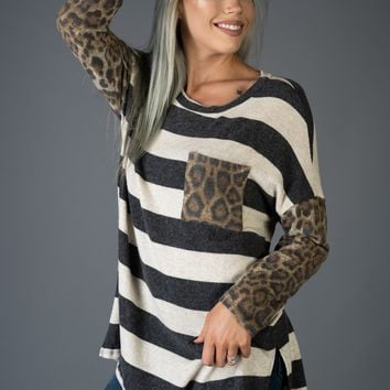 Leopard Sleeve and Striped Body Pocket Top