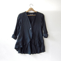 vintage Armani black button front shirt - jacket. Peplum blazer. Modern structured blouse.