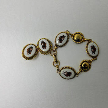 Vintage Horse Head Cameo Bracelet and Clip On earring Set Costume Jewelry