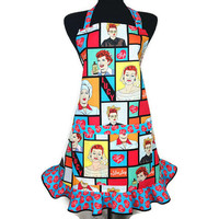 I Love Lucy , Retro Kitchen Apron , Lucille Ball , Multicolor with Ruffle