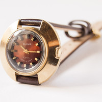 Vintage gold plated women's watch - oxblood face watch - brown leather watch