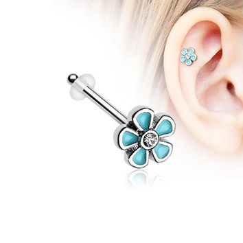Adorable Plumbago Flower Sparkle Piercing Stud with O-Rings