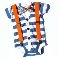 Baby Cardigan and Bow Tie Set - Trendy Baby Boy - Blue Stripes - Cardigan Onesuit