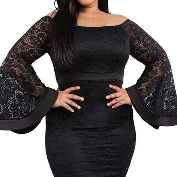 Black Plus Size Boat Neck Long Bell Sleeve Lace Dress