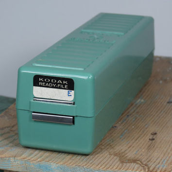 Kodak Ready File • Vintage 35mm Slide Storage Case • Circa 1950s • Great Turquoise Color • Vintage Camera Accessory Storage