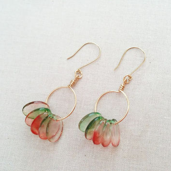 Gold Wire Hoops with Red and Green Bead Dangles; Modern Jewelry