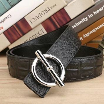 HERMES Woman Fashion Smooth Buckle Belt Leather Belt H-A-GFPDPF-1