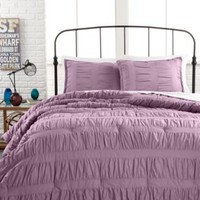 Ruched Stripes Lavender 3 Piece Comforter and Duvet Cover Sets - Bed in a Bag - Bed & Bath - Macy's