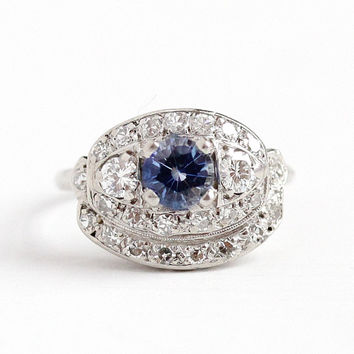 Sapphire & Diamond Ring - Vintage Platinum .61 CT Genuine Blue Gemstone - Size 5 1/2 Engagement Bridal Cluster Halo Jewelry W/ Appraisal