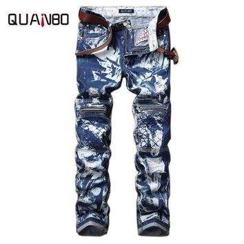 QUANBO Brand Clothing 2017 New Arrival Men Jeans Fashion Patch Hole Distressed Jeans Fold Snowflake Zipper Motorcycle Pants 42