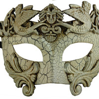 Venetian Half Masquerade Mardi Gras Mask Vintage Design For Men - White